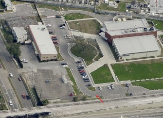 This photo shows the proposed location, shown by the red lines, of a digital billboard to be built by Marco Outdoor Advertising.