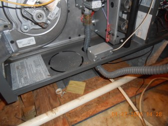 Flexible gas fuel lines to to a furnace are serious fire hazards if installed improperly.