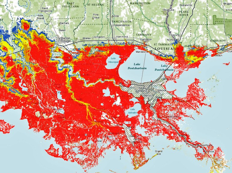 "The map depicting estimated storm surge in southeast Louisiana from a worst-case Category 3 hurricane might confuse some users because it leaves the metro area inside the new levee system outside the ""red"" flood zone."