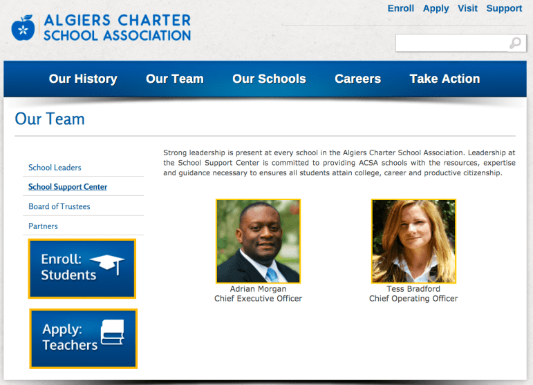 The Algiers Charter School Association's web page still listed Morgan as the CEO Monday evening.