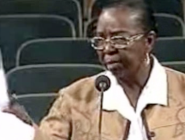 In this image capture from City Council video, the Rev. Lois Dejean questions a zoning request in her neighborhood.