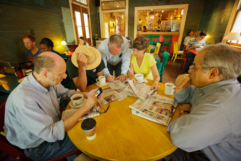 From left to right, John Desplas, Nick Crowell, Mark Herman, Sharon Morrow and Joe Mole have been meeting for 20 years at the Fair Grinds coffee shop to read their daily copy of The Times-Picayune, work the crossword puzzle and talk about New Orleans.