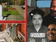 The Alabama tourism pamphlet links President Obama to heroes of the civil rights era. l