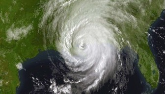 A satellite image shows the dreaded climatological pinwheel — in this case Hurricane Katrina — that can ravage Louisiana.