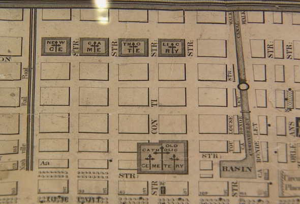 old map of St. Louis No. 1 cemetery