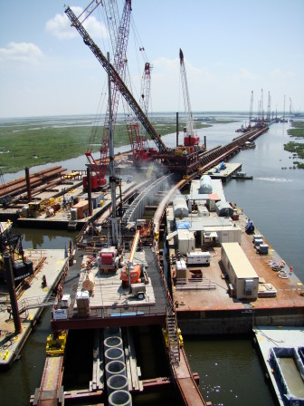 The Lake Borgne Surge Barrier is like a superhighway built across water.