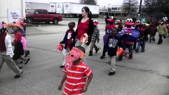 Last hurrah: Ben Mays Prep kids parade during Carnival.