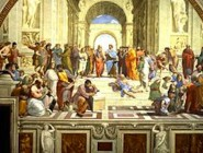 "A detail central to Raphael's famous painting: ""The School of Athens."""