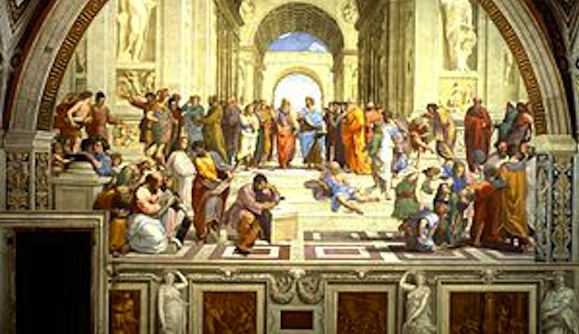 """A detail central to Raphael's famous painting: """"The School of Athens."""""""