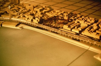 A mock-up provides an aerial view of the Riverfront Expressway.