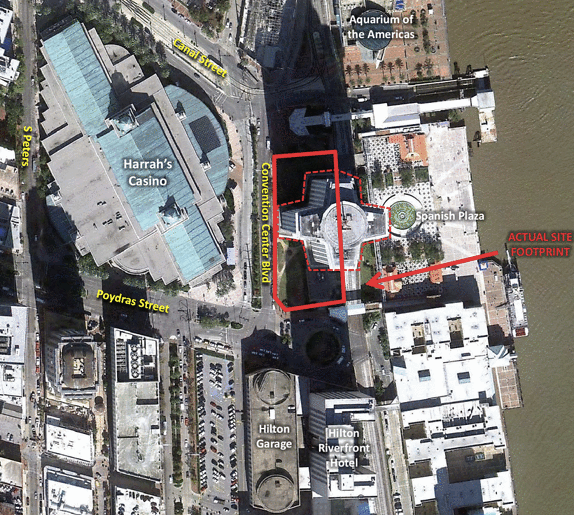 "A bill to expand the convention center includes authorization to demolish the New Orleans World Trade Center and prepare the site for a ""riverfront festival park."" The city has already sought proposals for redevelopment of the site, outlined in red here."