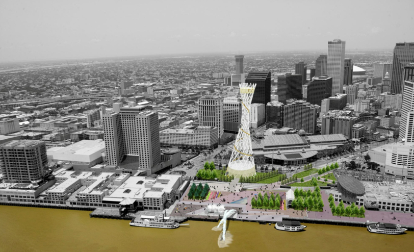 A presentation by the Convention Center depicts a giant sculpture on the site of the World Trade Center. It appears to be what Mayor Mitch Landrieu referred to when he told The Lens that one possibility for the site would be to create a monumental attraction, on par with the Gateway Arch in St. Louis.