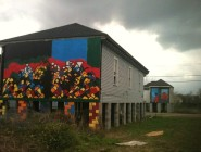 The houses remain uninhabited, but itinerant New Jersey artist Henry Hechavarria has found a use for them.