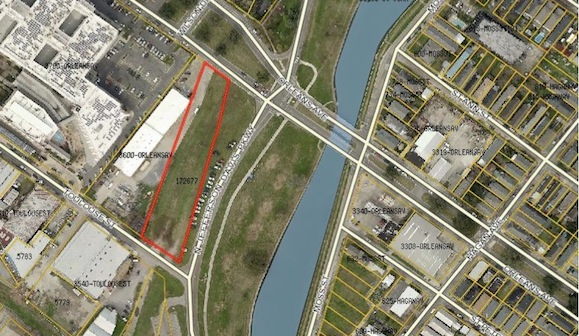 Outlined in red, the property eyed for volleyball courts is owned by the Sewerage and Water Board.