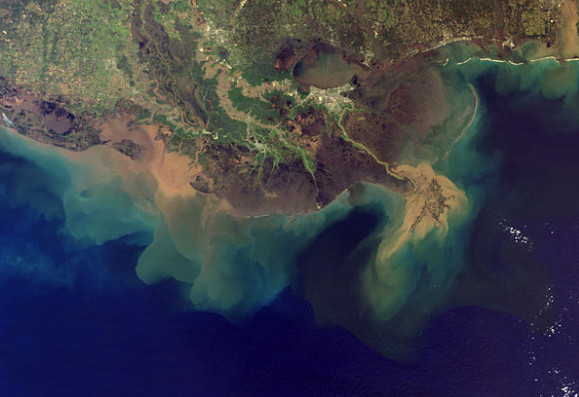This image from spring 2001 shows the plume of sediment pouring from the Mississippi River into the Gulf of Mexico. More sediment would make it downstream if so much water weren't already diverted by the Old River Control Structure upstream of Baton Rouge and other outlets, natural and manmade.