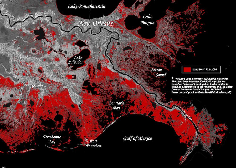 Graphic of coastal Louisiana land loss, 1932-2050