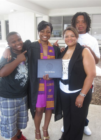 Kimberly James and her kids celebrate daughter Ceisha's graduation from LSU.