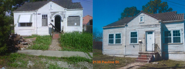 "Left: City files show the Pauline Street house in 2011, when it was cited for code violations. Right: A city employee took this photo in March. Though the stickers are visible on the new windows, the city moved to demolish the house for ""significant lack of progress,"" according to city spokesman Tyler Gamble."