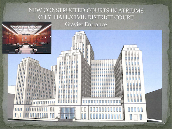 This image from Pres Kabacoff's PowerPoint presentation shows how courtrooms could be constructed between the three towers of the former Charity Hospital. That approach would sidestep the problem of columns that would obstruct the view in the courtrooms.