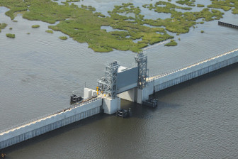 The U.S. Army Corps of Engineers long ago finished building many sections of the metro-area hurricane protection system, such as this lift gate where Bayou Bienvenue crosses the Lake Borgne Surge Barrier, but the state says it will not accept any part of the system until all parts are complete. That might take another five years.