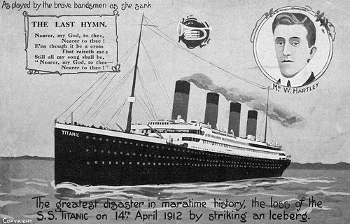 "The Titanic is portrayed on a postcard in circulation two years after ""unsinkable"" ship was done in by an iceberg."