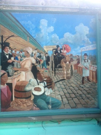A latter-day fresco paints an idealized picture of a French Market that never was.