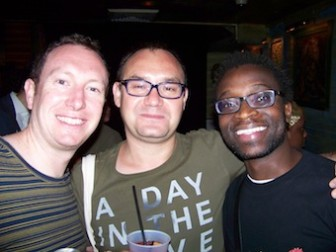 Cliff, left, and Rugero, right, enjoy a French Quarter moment with fellow writer Dmitry Golynko, a Russian.