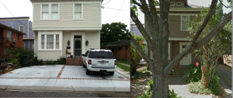 The photo on the left shows a paved front yard at 1421 Milan St. On the right is a Google Maps image showing the yard as it looked in 2011.