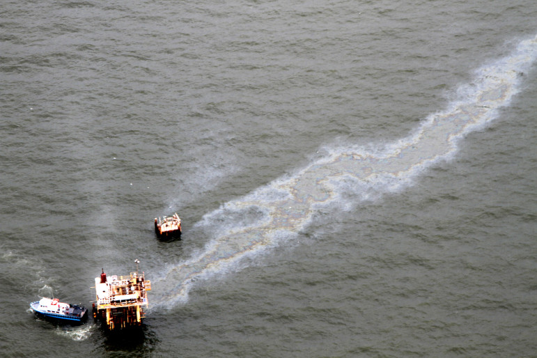 This badly leaking rig off the Mississippi River delta was spotted and reported last September by Jonathan Henderson of the Gulf Restoration Network on a flight provided by another environmental group, SouthWings. The information was relayed for analysis to SkyTruth, yet another green group in the Gulf Monitoring Consortium. The coalition was formed because no government agency regularly monitors conditions at the tens of thousands of rigs and wells in the coastal zone.