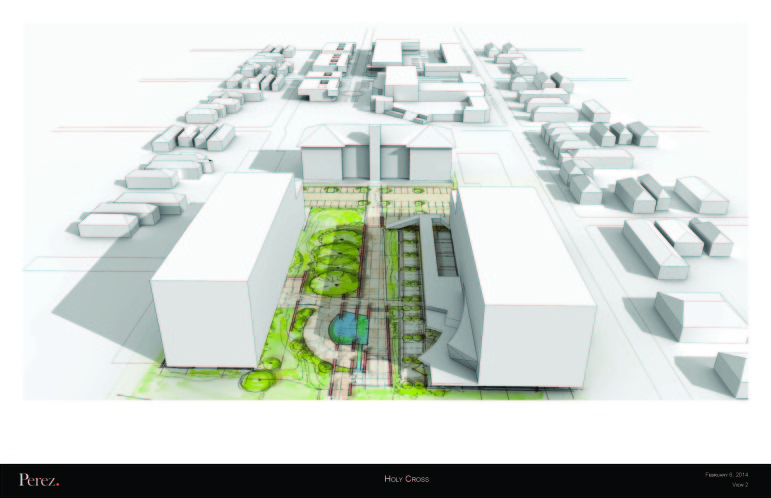 This diagram, which faces away from the river, shows the basic shape and size of the buildings in the Holy Cross proposal.