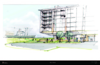 This rendering shows part of the Holy Cross proposal. The company has originally proposed a much taller tower, but reduced it to 60 feet. That's still well above what's allowed by the city's current zoning code.