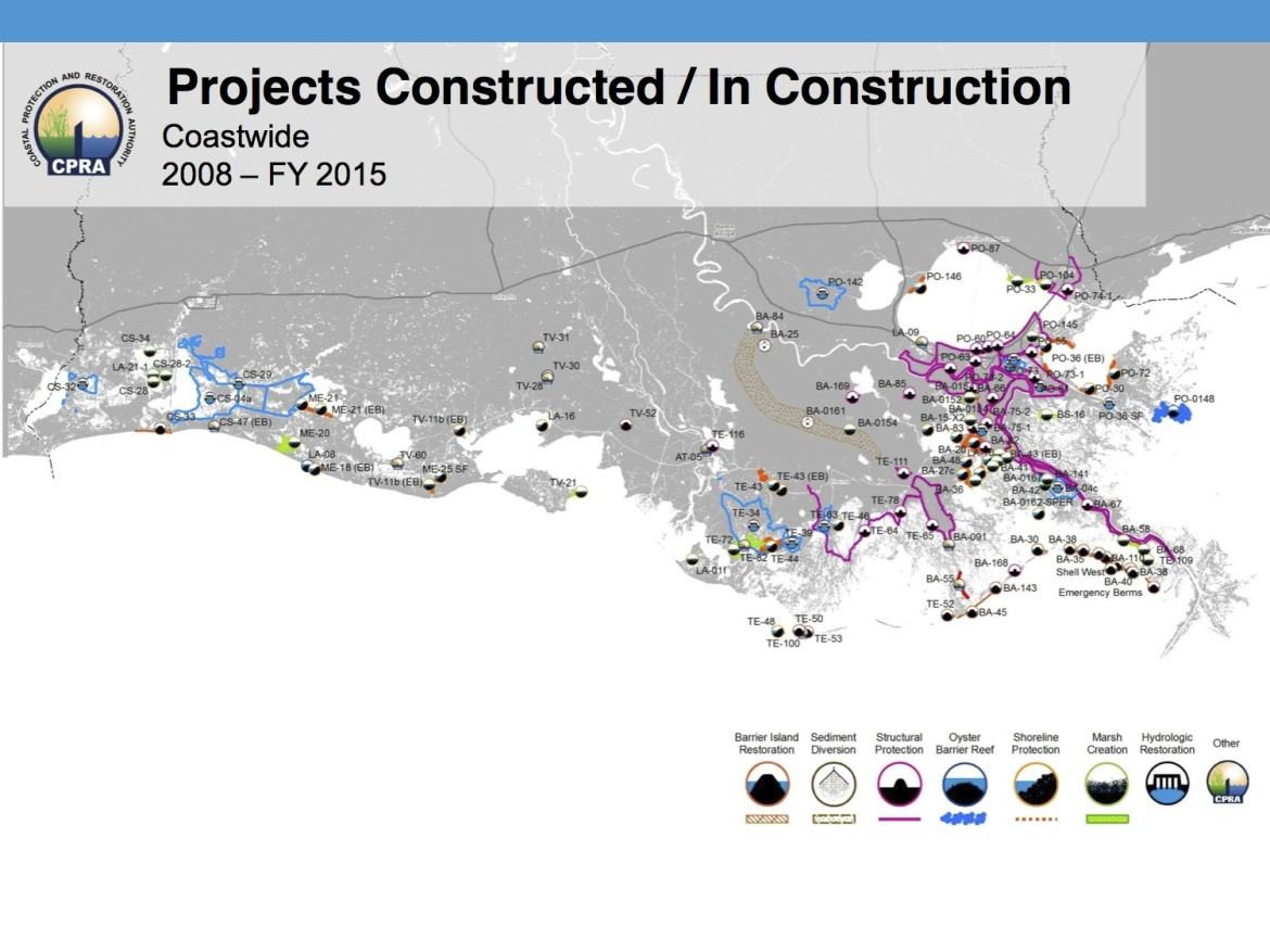 This graphic shows where the state has spent or plans to spend $13 billion on coastal restoration and flood protection from 2008 to 2015. That includes $2 billion for 76 coastal restoration projects and $8 billion for the state's share of the hurricane protection system surrounding the New Orleans area. (Click the image for a larger version.)