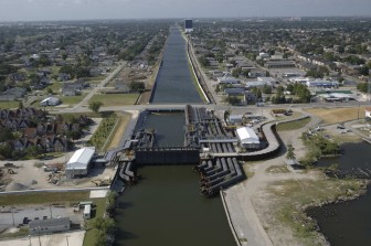 The 17th Street Canal pumping station and new floodwalls, shown here in 2011, are part of the newly-built system. Everyone agrees that it's best New Orleans has ever had. But experts say it's not what the city needs — or as strong as Congress originally intended in 1965.