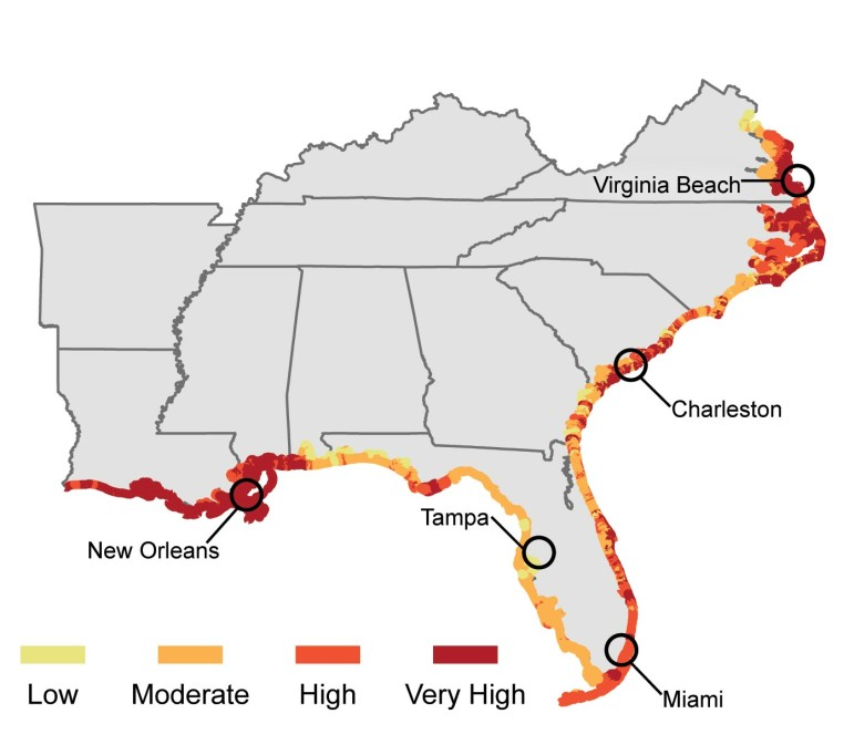 The red areas have the greatest vulnerability to sea level rise, according to the National Climate Assessment.