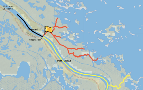 This image shows how Mardi Gras Pass, marked with the flag, has altered water flow in the delta. The red lines show areas that receive a continuous flow of water since the breach formed. The yellow lines show the flow of water before. For more, see the state's interactive map.