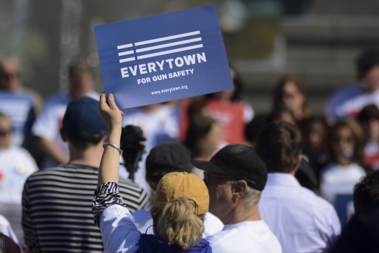 "Everytown for Gun Safety, which styles itself as ""the movement to end gun violence,"" holds a counter rally to the annual NRA convention in Indianapolis on April 26, 2014."