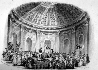 The print shows an ante-bellum slave auction at full cry in New Orleans, then the nation's largest slave market.