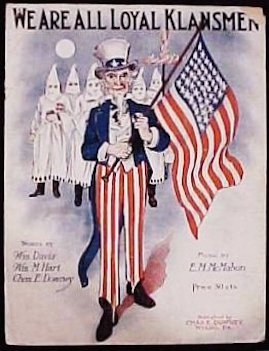 Sheet music from 1923 cheerfully acknowledges that mainstream politics has long marched to the same drummer as groups like the Ku Klux Klan.