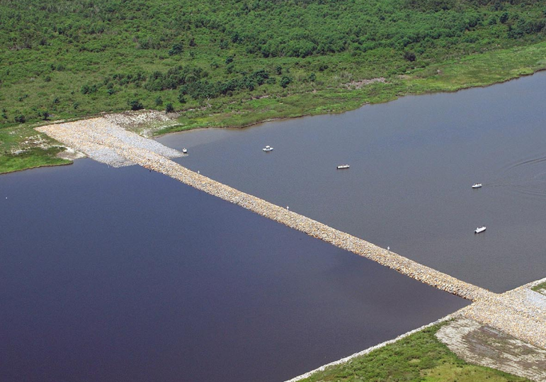 Some fishers claim the rock dam built across the MRGO in 2008 to block storm surge has hurt fishing