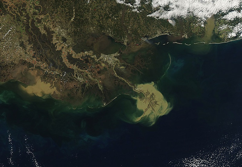 Early results from an ongoing state-federal research project indicate the Mississippi River carries enough sediment to meet the  wetlands-building projections made in the 2012 Master Plan for the Coast.  The diversions are designed to divert the sediment seen exiting the mouth of the river in this NASA satellite photo into the sinking basins south of New Orleans