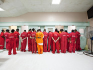 Teenage defendants gather in the juvenile wing at Orleans Parish Prison in 2010. At the time, 23 juveniles were housed there, two per cell. Until a few years ago, young defendants had to be held at OPP if they were charged in adult court. Now it is up to judges to decide where they go. Some local leaders are trying to get young defendants moved to the Youth Study Center, which is designed for juveniles, better staffed and safer. (Photo courtesy Richard Ross, Juvenile in Justice. The organization will exhibit some of its photos at the Joan Mitchell Center in October.)