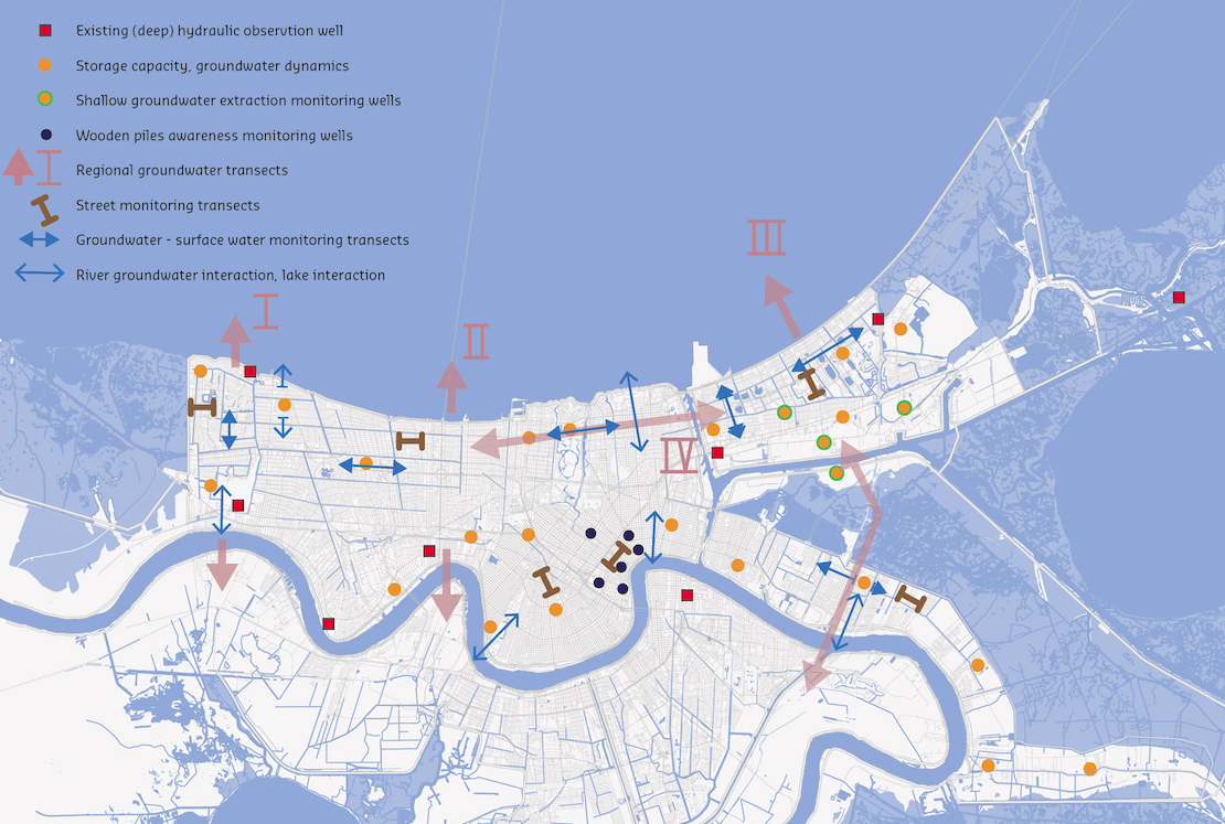 This map from the Urban Water Plan for New Orleans  shows how water moves underground and where experts think we should place monitoring wells.