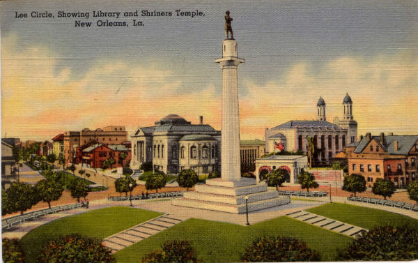The unveiling of the Robert E. Lee statue in 1884 was attended by Jefferson Davis and Gen. P.G.T Beauregard. The roundabout, here pictured in a period postcard, had previously been known as Tivoli Circle.