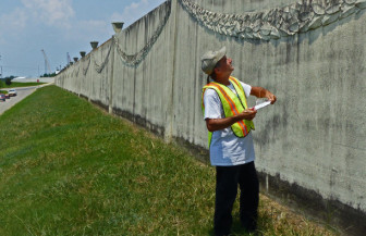 "Johnny Holzenthal is one of three Orleans Levee District inspectors that must do walking inspections of  ""every foot"" of  156 miles of floodwalls and levees four times a year."