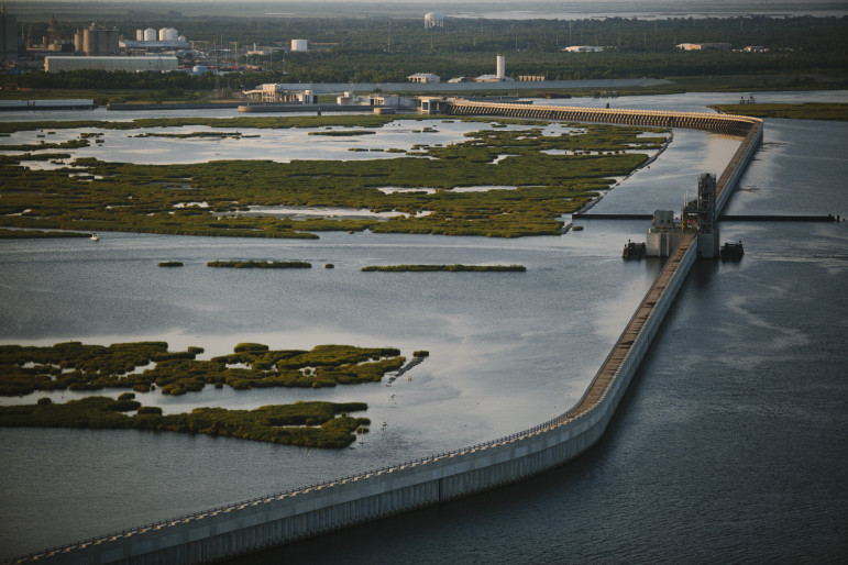 Part of the region's new levee system features this  barrier, which is designed to block incoming surge from the Mississippi River — Gulf Outlet canal and the Gulf Intracoastal waterway.