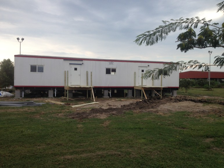 One of Foundation Prep's modular buildings awaits the final construction of an entry for its kindergartners and first-graders