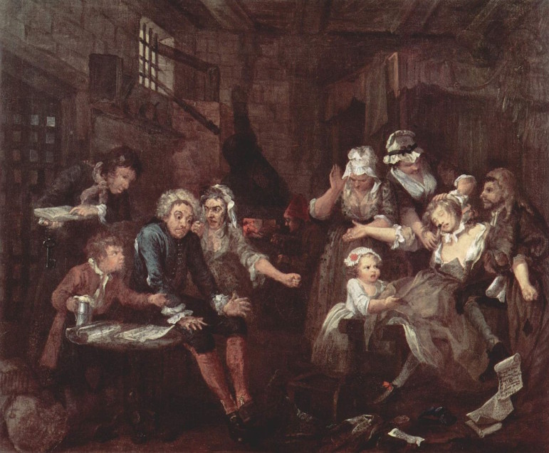 Debtors prisons, as depicted in this 18th century work by the British painter William Hogarth, continue to function in the U.S. on a de facto basis, despite a Supreme Court ban.