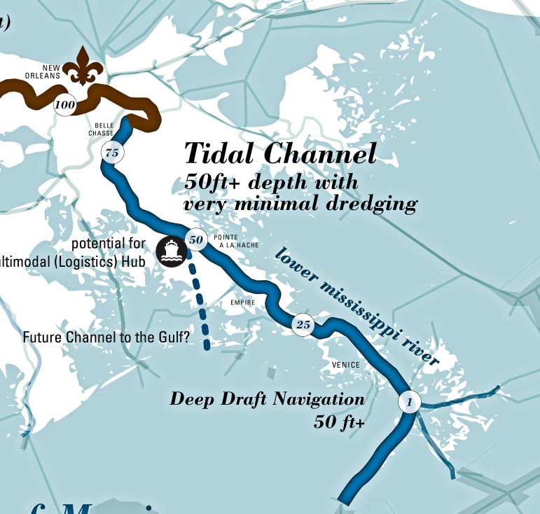 The Baird Team would move he mouth of the river to English Turn, retain the current navgiation channel as a deeper slack-water entry to the port. Like the other plans this would also abandon communities along the lower river over several generations.