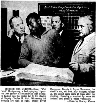 This photo in the Nov. 15, 1963, edition of The Advocate State-Times shows Henry Montgomery being booked for the murder of Deputy Charles Hurt.
