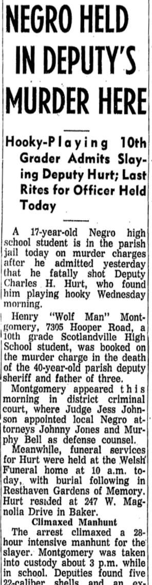 Montgomery's arrest was reported on the front page of the Nov. 15, 1963, edition of the Advocate State Times. (Click here to see the entire front page.)